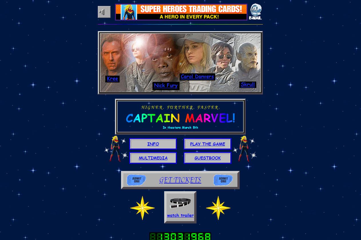 『キャプテンマーベル』公式サイトが90年代ホームページ風に!?スクラル探しゲームもあり!