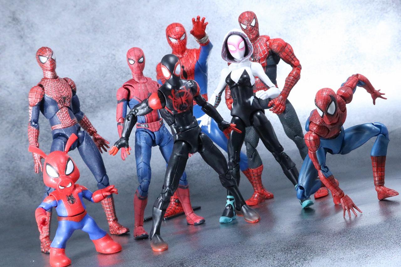 マーベルレジェンド スパイダーマン マイルズ・モラレス スパイダーバース レビュー アクション スパイダーグウェン スパイダーハム