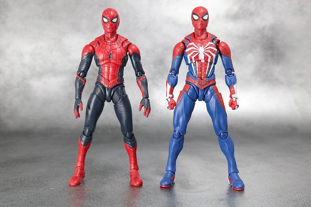 S.H.フィギュアーツ スパイダーマン アドバンス・スーツ(Marvel's Spider-Man) レビュー 全身 スパイダーマン アップグレードスーツ 比較