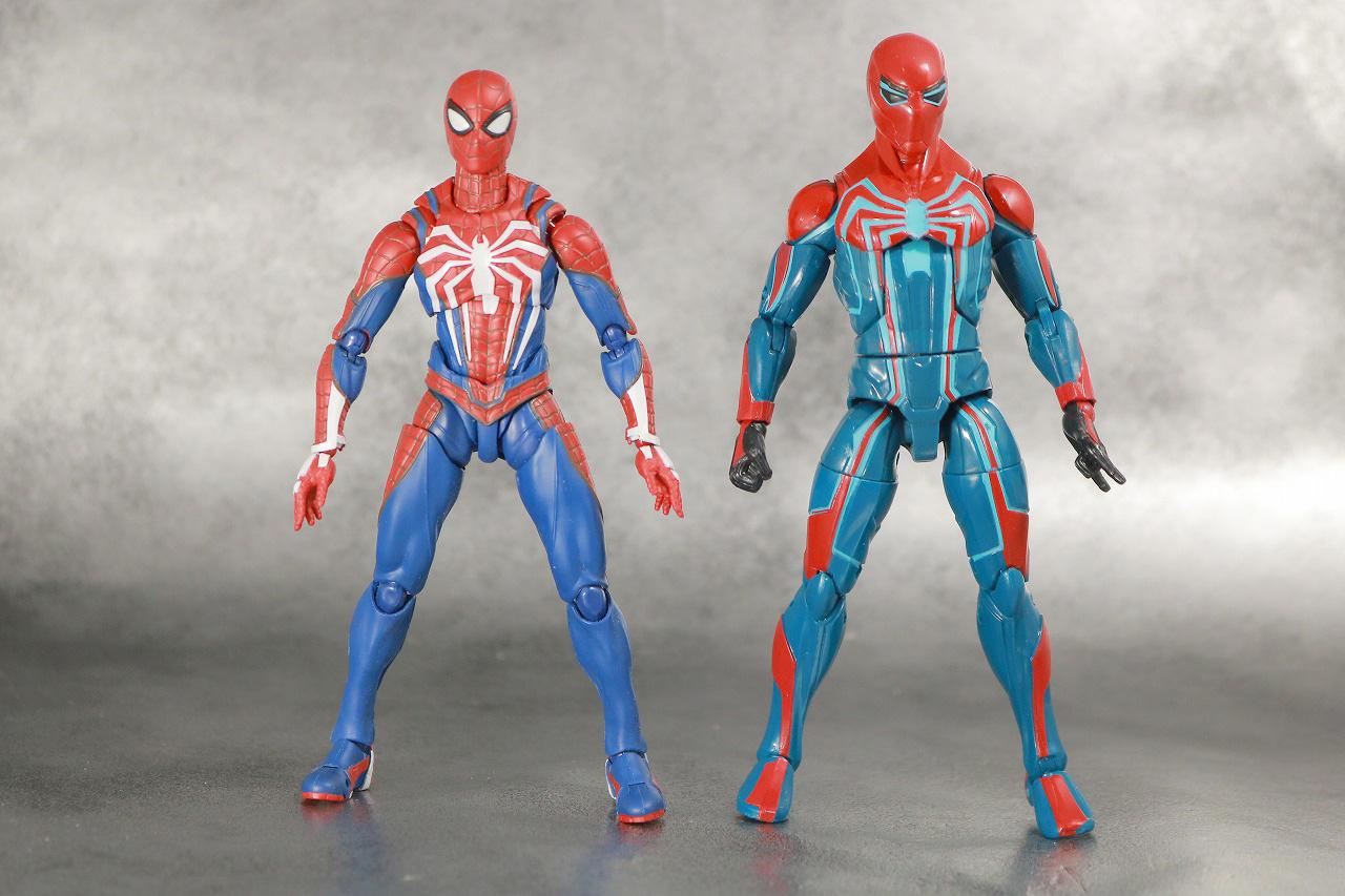マーベルレジェンド スパイダーマン ベロシティスーツ レビュー 全身 S.H.フィギュアーツ スパイダーマン アドバンススーツ 比較