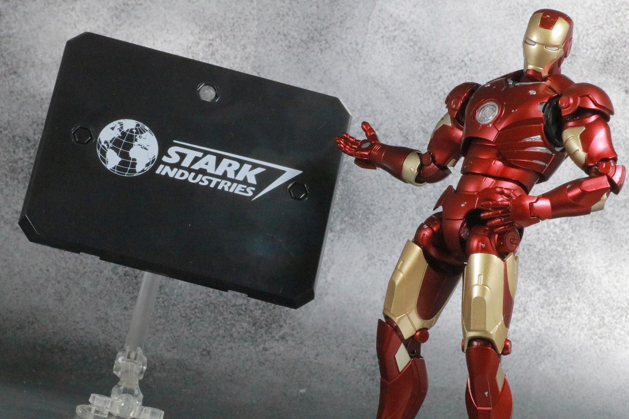 S.H.フィギュアーツ アイアンマン マーク3 Birth of Iron Man レビュー アクション スタークインダストリーズ ロゴ 台座