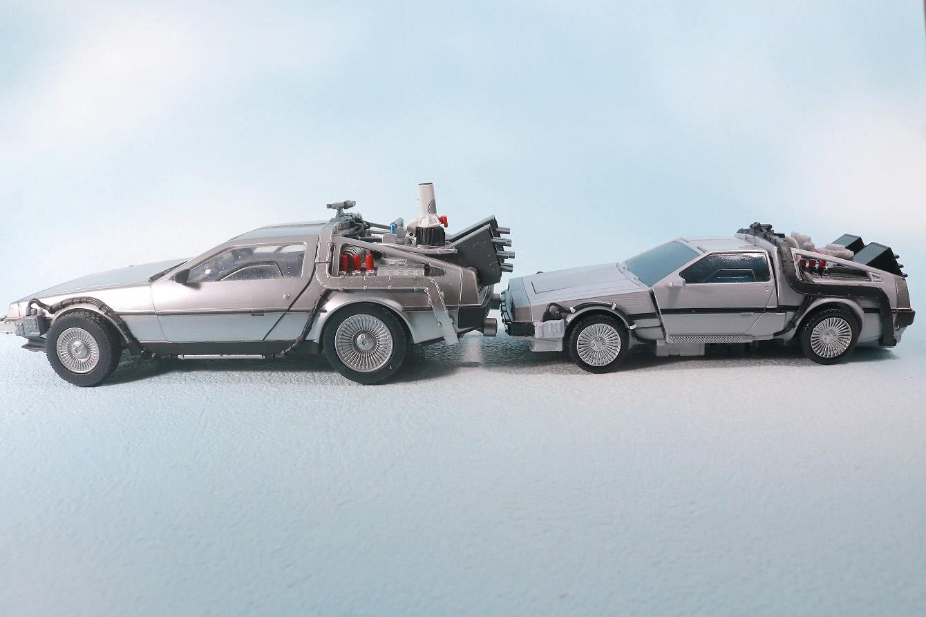 トランスフォーマー ギガワット デロリアン ビークルモード レビュー 本体 特撮リボルテック 比較