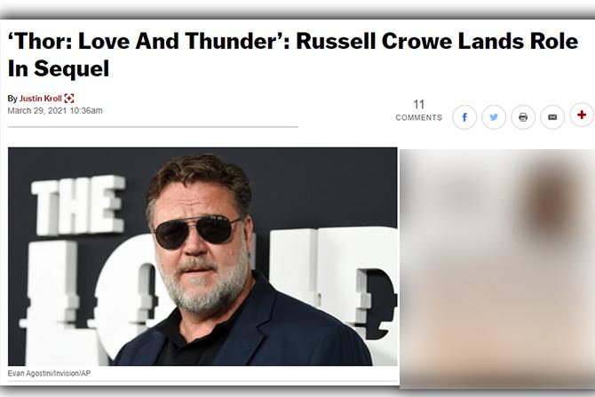 ラッセル・クロウ、『ソー ラブ&サンダー』に出演へ ー 『マン・オブ・スティール』などに出演