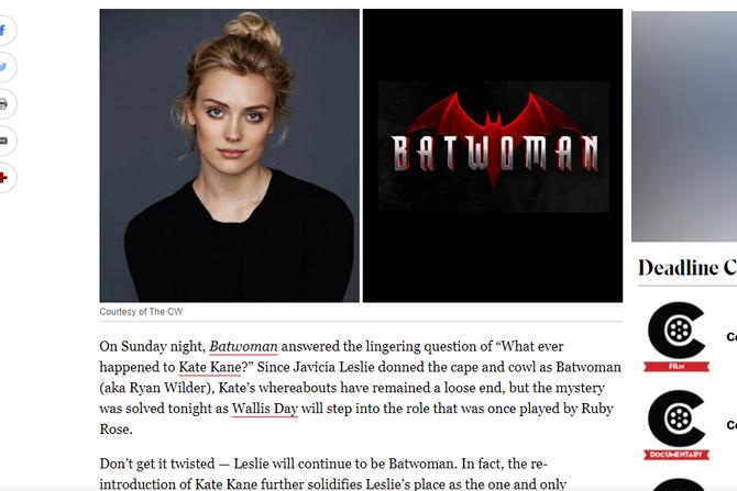 『バットウーマン』新ケイト・ケイン役にウォリス・デイが決定 ー 『クリプトン』にも出演