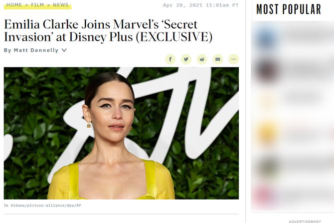 『ゲーム・オブ・スローンズ』エミリア・クラーク、マーベルドラマ『シークレット・インベーション』に出演 ー 役名は不明